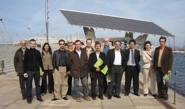 EEC participated through the ATF Association to the European Project Leonardo da Vinci  ES/06/B/F/PP-149465. On the background the photovoltaic panel in Barcelona, one of the largest photovoltaic panel in the world (the photovoltaic plant is 4000 square metres and produces 400Kw of electric power for more than 100 households).