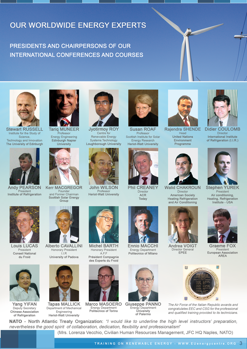 Energy Experts, presidents and chairpersons of EEC energy courses and conferences